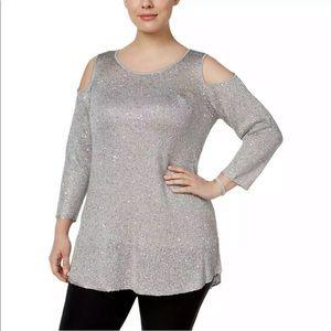 Alfani Women's Plus Size Sequined Cold Shoulder 2X